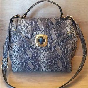 B Makowsky Satchel Handbag Leather  Gray/gold